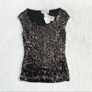NWT Philosophy black sequin tank top blouse